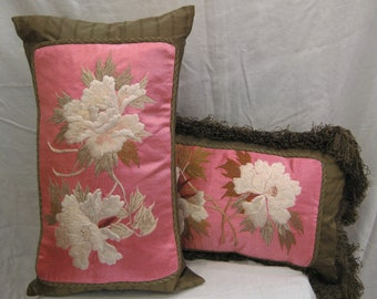 Pair of silk pillows with vintage Japanese floral embroidery