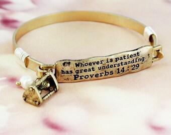 Proverbs 14:29 Bar Bracelet