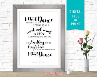 I Don't Dance, Lee Brice, Custom first dance song lyric art, wedding gift, first paper anniversary print