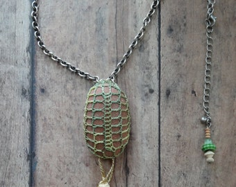 Crocheted Lace Stone Necklace, Handmade, Original, Green, Gold, Antique Silver, Nature, Bohemian Style,Stone, Rock, Nature, Jewelry, Monicaj