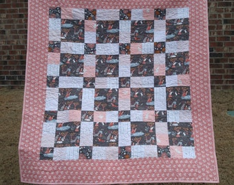 READY TO SHIP Pink Woodland Animal Lap Quilt - Girl Quilt