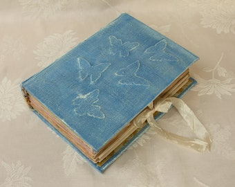 Blue Butterfly Junk Journal, Vintage Diary, Art book, Guest Book, Smash Book