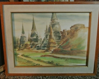 SE Asia Buddhist Temple watercolor painting--vintage signed