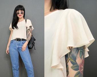 vintage 80s paper thin blouse ruffled cap sleeve dainty romantic top shirt small