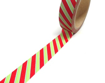 Red and Green Stripe Washi Tape