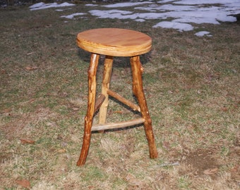 "Natural ""Organic"" Raw Wood Beautiful Country-Style Three-Legged Kitchen or Boudoir Stool by FurNature"
