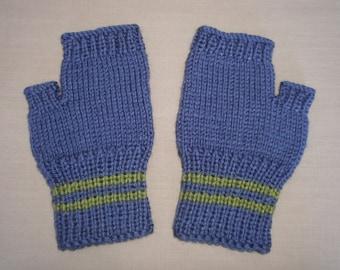 Hand knit Fingerless Gloves - Blue & Lime Green