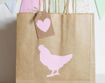 Hen Party Gift Bags, Hen Do, Pink Hen Thank you bags, Favour Bags, Brown Kraft Paper Bag, Bridal Shower Party Supplies