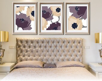 Blooming Garden (Series A) Set of 3 - Art Prints (Featured in (Regency and Buttercream scheme) Botanical Art Print / Poster