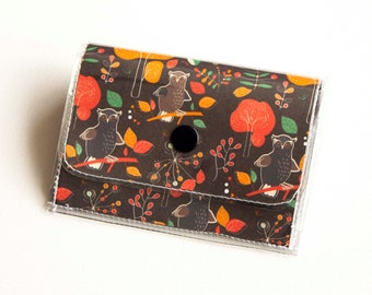 Handmade Vinyl Accordion Wallet - Hoot / owl wallet, bird, woodland, small wallet, cyclist, bicycle, snap, cute, card case, vinyl wallet