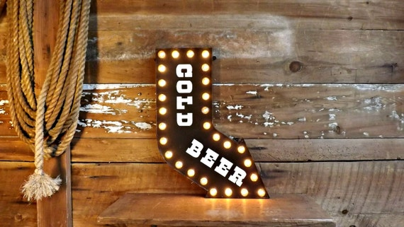 Cold Beer Sign Marquee Light Bar Decor Lighted Arrow Curved