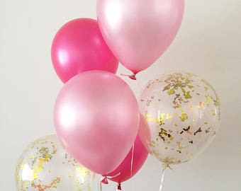 Pink and Gold Confetti Latex Balloons Pink and Gold First Birthday Pink Bachelorette Bridal Shower Balloons Baby Shower Pink and Gold Party