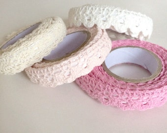 fabric lace tape - stationery adhesive tape - wedding diy supplies - cardmaking tape - scrapbooking tape - packaging tape - vintage style