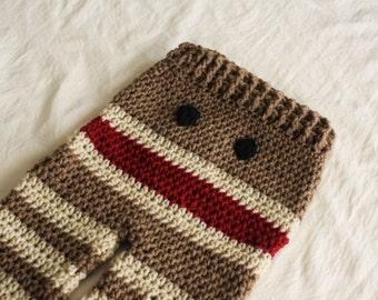 NEW - Crochet Monkey Baby Pants - Baby Monkey Pants - Sock Monkey Pants -  Baby Pants with Tie String - by JoJo's Bootique