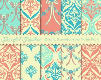 Scrapbook Paper Pack Digital Scrapbooking Background Papers ART NOUVEAU Pack IRIS Flowers Blue Coral 10 Sheets 8.5 x 11 1655gg
