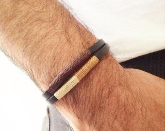 Leather bracelet mens Bohemian Leather Bracelet leather cuff Black Leather Wristband Men's leather color bracelet Mens wrap bracelet