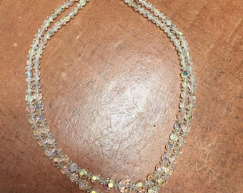 Beautiful clear glass beaded vintage necklace