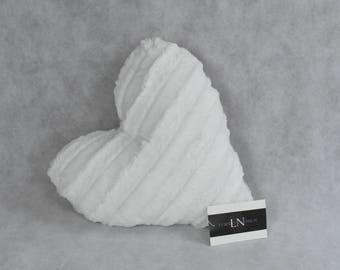 Adorable white faux fur Heart shaped LOVE pillow