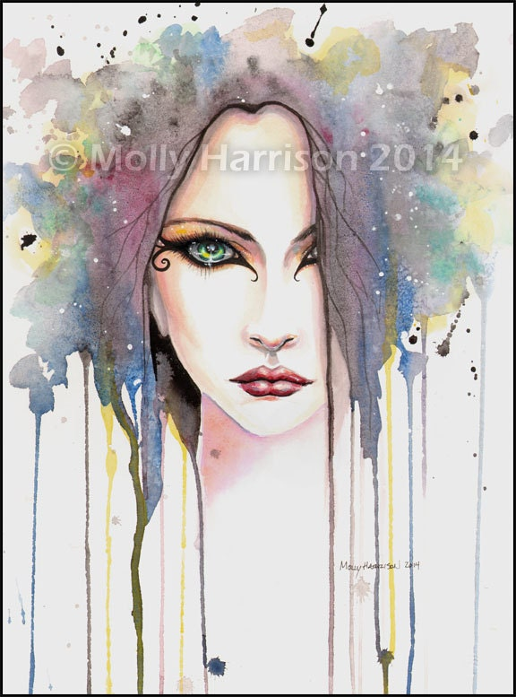 The Psychic Fantasy Face Abstract Watercolor Art Giclee