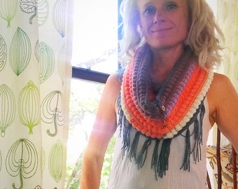 Ladies Crochet Fringe Infinity Scarf