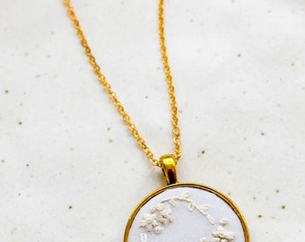 White Hand Embroidered Gold Pendant Necklace | Wreath Flower Necklace Jewelry | Gold Round Pendant necklace | Gifts Under 30 for Wedding
