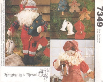 McCalls 7349 Santa Doll Pattern 17 Inch Cookbook Campfire Santa Claus Pattern Christmas Fisherman Chef  Holiday Sewing Pattern UNCUT