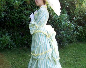 Yellow stripe Victorian bustle dress - FINAL PAYMENT For Joseevanthemsche