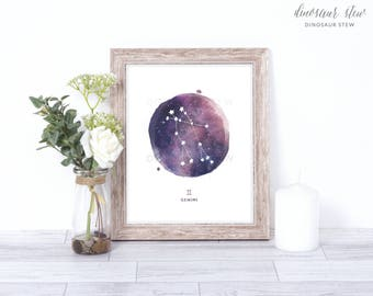 gemini print - watercolor constellation art print - gemini gift idea with color options - 8x10