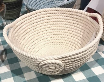 3/8 inch White Braided Cotton Rope Basket