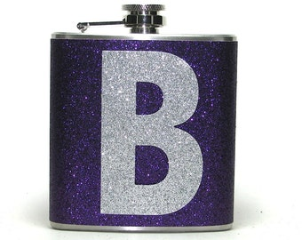 You Pick Flask Color! Personalized Sparkly Glitter 6 oz Size Stainless Steel Liquor Hip Flask Flasks Weddings Bridesmaids Gift Idea