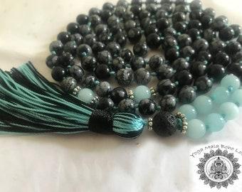 Siddha Mala - Obsidian, Aquamarine & Lava mala - Soul Power, Spiritual Blessings and Limitlessness