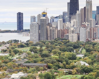 Chicago Skyline Photography, Lincoln Park from Air, Chicago Wall Art, Chicago Art Framed, Chicago Canvas, Chicago Poster, Office Wall Art