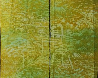 """6.8""""w. x 15.6""""l. and 6.9""""w. x 13.7""""l. Vintage silk kimono fabric green tree forest 2839xA"""