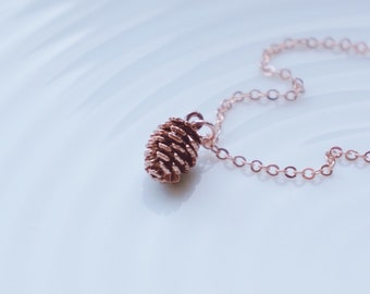 Rose Gold Pinecone Necklace / Rose Gold Wedding Necklace / Rustic Bridesmaids Jewelry / Personalized Pinecone Necklacd
