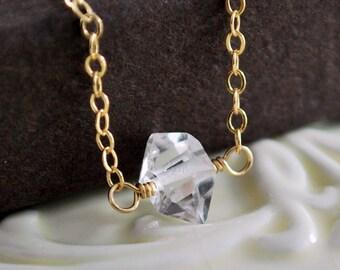 Herkimer Diamond Jewelry, Choker Necklace, Semiprecious Nugget, Quartz Gemstone, Minimalist, Simple, Gold Filled Free Shipping