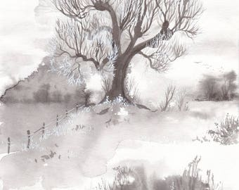 "Original art: ""Winter Linden"". Painted ink on paper, black and white, trees, woodland, magical, mystical, winter, landscape, linden, nordic."