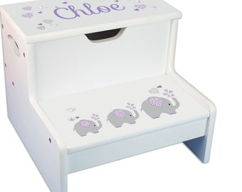 Personalized Lavender Elephant Childrens Step And Storage Stool