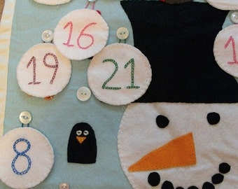 Felt Advent Calendar, Snowman Reindeer or Christmas Tree design hand stitched.