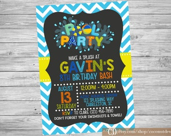 Pool Party Invitation / Boy Pool Party / Pool Party Invite / Swim Party Invitation