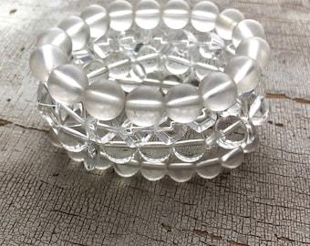 Clear Stack & Stretch Bracelet Set   Vintage Lucite Stretchy Bracelets   Transparent Lucite Beads