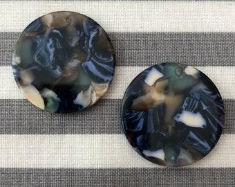 1 pair 25mm round resin slab Native Beadwork