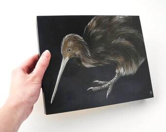 Kiwi - Kiwi Vogel - Neuseeland-Tiere-Kunst - flugunfähiger Vogel - Malerei exotischen Vogel Malerei - vom Aussterben bedrohte Arten Kunst - nächtliche Vogel