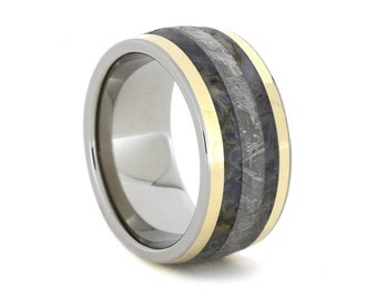 Dinosaur Bone Ring, Gibeon Meteorite Wedding Band With Two 14k Gold Pinstripes