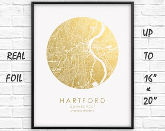 "Hartford 16""x20"" City Map Gold Print, Real Gold Foil Print, Hartford Сircle City Map Poster, Hartford Gift, US, GoldenGraphy"