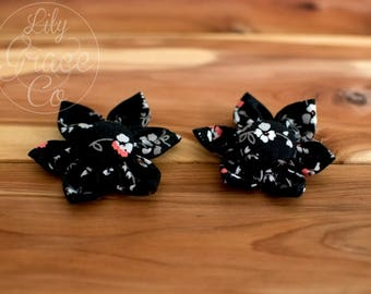 Black Floral Flower Bow Headband Hair Accessories Nylon Headband Clips Piggie Clips pigtails