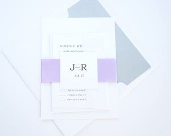 Lilac Wedding Invitations, Purple and Silver, Purple and Gray Wedding Invitations, Minimal, Simple, Modern Wedding Invite - SAMPLE SET