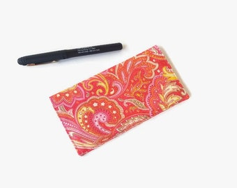 Pink Paisley Checkbook Cover - Coupon Holder - Pink Fabric Checkbook Holder - Paisley Purse Accessory Organizer