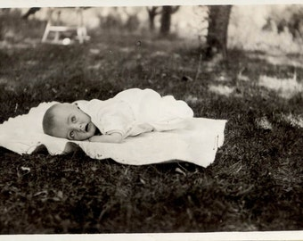Vintage Photo 1919 Baby Lying on Blanket in the Grass