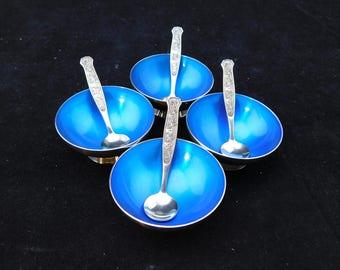 Vintage set of 4 Meka Denmark Silverplate and Blue Enamel Salt Cellars/ Bowls & Spoons  Mid Century Modern, MCM, Scandinavian, Silver Plate,