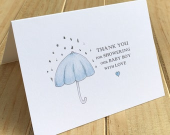 Baby Shower Thank You Cards, Baby Boy Shower Thank You Cards, Set of 10, Sparkly Shower Thank You Cards, Hand finished Thank You Cards